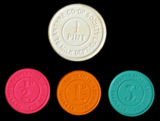 1960s Blantyre co-op Milk Tokens