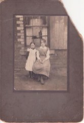 Pictured in 1912....This was Mary Crowe's mother on the left with her sister outside 8 Miller Street at Dixon's Raws.