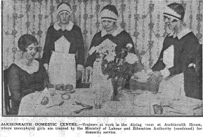 1930 Maids attend mockup at Auchinraith House Domestic Centre