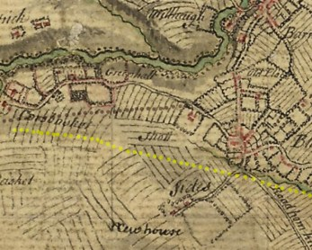 1747 Greenhall Map showing modern road overlays