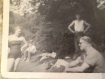 1954 Gord Fotheringham & parents at the Dam near David Livingstone Centre