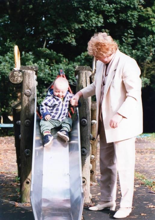 1997 Greenhall. Andy Bain's Grandson plays on chute