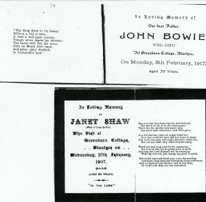 Janet Shaw died 1907 and John Bowie 1917