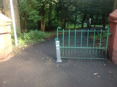 2014 Sneaky SLC put a bollard in preventing access to Greenhall but removed it next day after protests