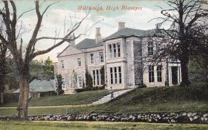 Old postcard showing the outbuildings at side of Milheugh House