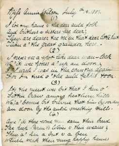 1889 A Poem for Miss Annie Wilson by Margaret Bowie Duncan