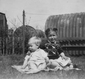 1951 Betty Weaver and brother at Victoria Street