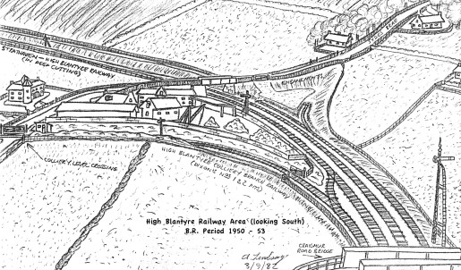 1982 Sketch of 1950s High Blantyre Railway by A Lindsay