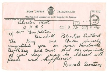 1925 Telegram to Templetons (Owned by PV)