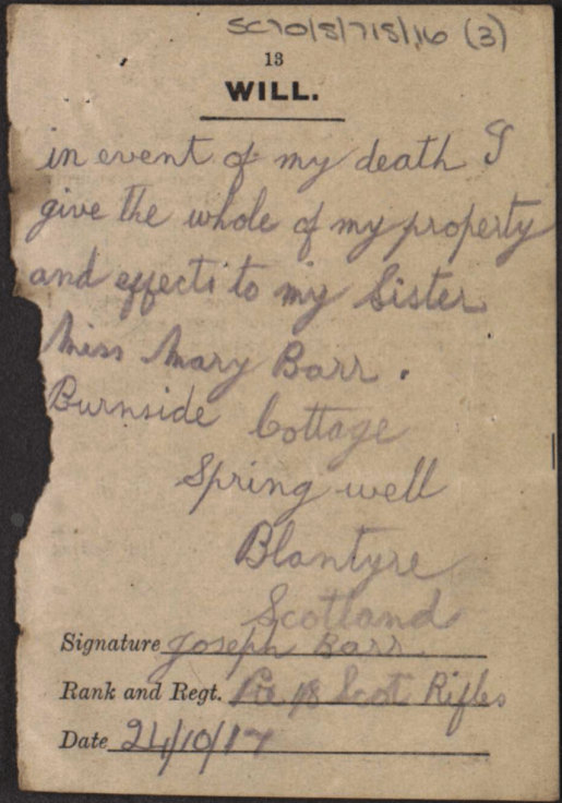 1917 Joseph Barr will written in trenches