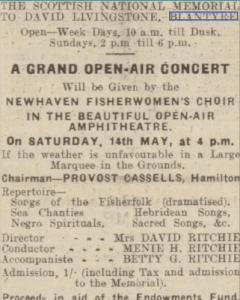 1938 Advert Blantyre outdoor concert