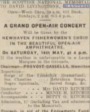 1938 Advert Blantyre outdoor concert