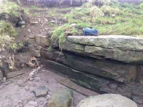 2015 Milheugh falls stonework at the wooden channel (PV)