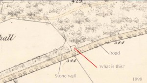 1898 Map Greenhall marked up to show the anomaly.