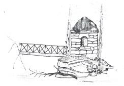 c1900 Hermit Hut Drawing by Pastor Walter Wilson of Baptist Church