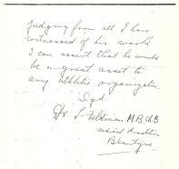 1925 Recommendation letter