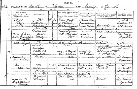 Death 1864 Matthew Leggat married to Janet Hamilton