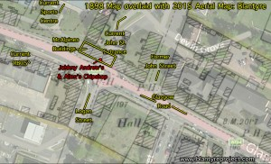 1898 Map marked up with 2015 overlay. Showing Andrews / Allan's chip shop