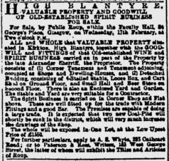 1886 Kirkton Pub sale by estate of Sherriff