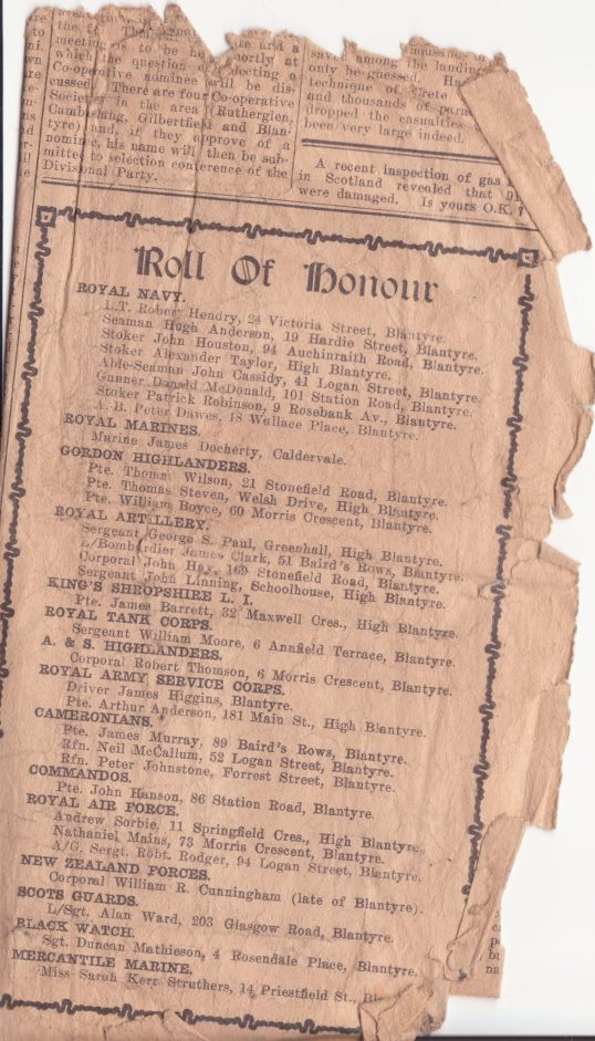 1940s roll of honour Blantyre Gazette
