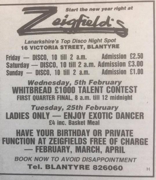 1986 Zeigfields advert