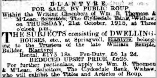 1915 Sale advert Semples