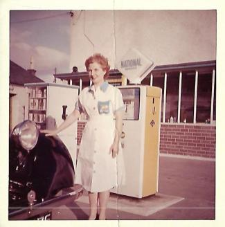 1962 Kathy Brown at National Petrol Station, Hasties