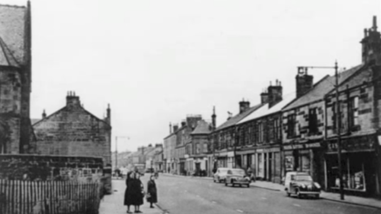 1970s Glasgow road at Stonefield Church