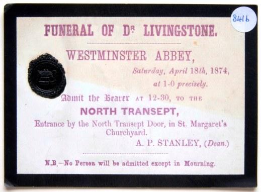 1874 LIVINGSTONE funeral pass