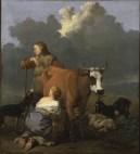 Karel_Dujardin_-_Woman_Milking_a_Red_Cow
