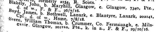 James Boyd death 7 August 1918