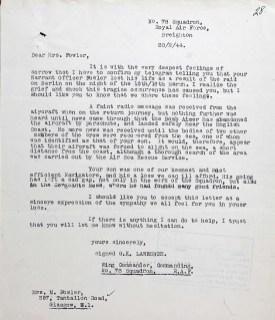 Letter loss of Life 20 Feb 1944