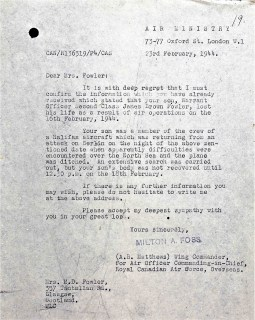 Loss of life Letter 23 Feb 1944