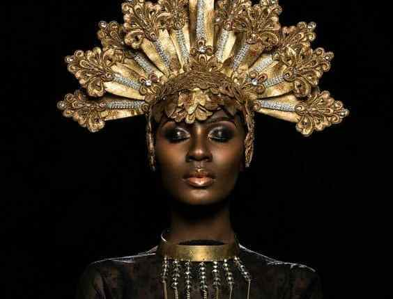 black african queen with crown