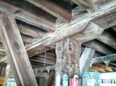 Heavy duty Timber frame construction. There can be as much as 600,000 pounds of grain stored above this beam.