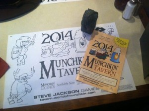The menu and place-mat (complete with benefit for when you play your next game of Munchkin)