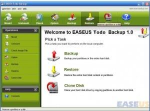 Home screen of the EASEUS Todo Backup software.