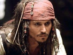 Johnny Depp as Captain Jack Sparrow.