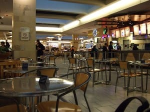 You'd be surprised what you can find for free in a food court, like the one in the Prudential Center in Boston. (Media credit/seahills1/Flickr)