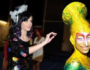 """Singer Katy Perry appears backstage with cast member Marylene Hickok after attending """"KA"""" by Cirque du Soleil at the MGM Grand Hotel/Casino September 18 in Las Vegas (WireImage)"""