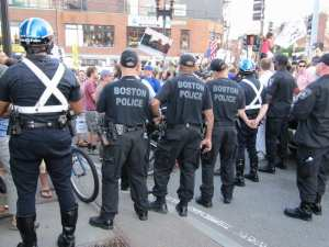 Police form a line during the bridge protest (Blast Staff photo/John Stephen Dwyer)