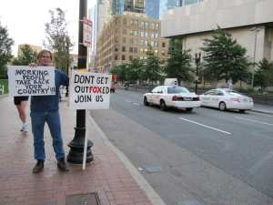 """Barry Knight says Occupy Boston """"will continue to improve as those with dependency issues realize this community can offer them help if they chose to accept it."""" (Blast Staff photo/John Stephen Dwyer)"""