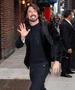 "Dave Grohl of the Foo Fighters arrives to ""Late Show With David Letterman"" at the Ed Sullivan Theater on November 15 in New York.  (Jeffrey Ufberg/WireImage)"