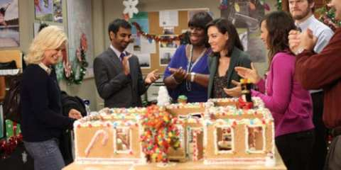 The gang celebrates not only the holiday, but their dedication to their friend and boss, Leslie Knope (Amy Poehler).