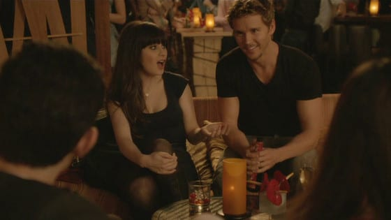 Jess trying to seduce Oliver (True Blood's Ryan Kwanten) for an out of character one night stand on Valentine's Day