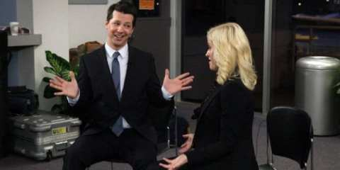 Sean Hayes guest stars as Buddy Wood, an Indianapolis talk show host itching to speak with Leslie about her grueling campaign.