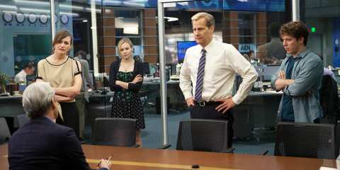The News Night crew argues with Charlie about breaking the Bin Laden story