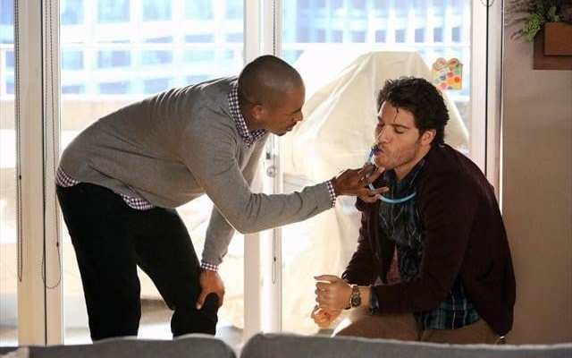 Brad (Damon Wayans Jr.) catches Max (Adam Pally) with his egg nog pack.