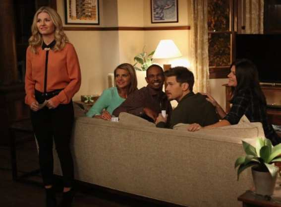 The gang watches as Max (Adam Pally) falls for Dave's (Zachary Knighton) prank.