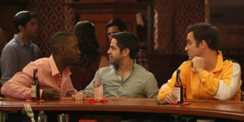 Winston (Lamorne Morris) and Nick (Jake Johnson) take Shivrang (Satya Bhabha) out for a guys night.